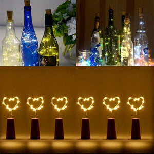 AMZER® Waterproof Light Wine Bottle Cork Copper Wire String Light 18 LEDs Mini Starry Rope - Warm White (Pack of 6) - amzer