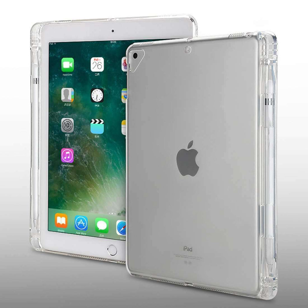 AMZER® Shockproof TPU Chipped Edge Soft Protective Back Case With Pen Slots - Transparent for Apple iPad 9.7 - amzer