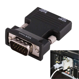 AMZER HDMI Female to VGA Male Converter With Audio Output Adapter for Projector, Monitor - Black