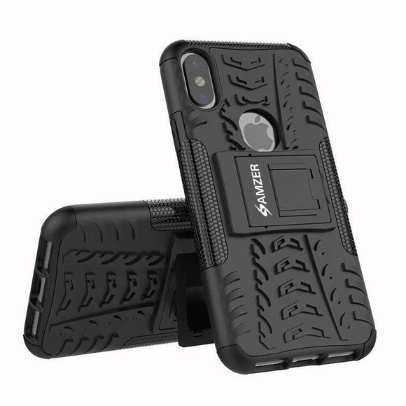 AMZER Shockproof Warrior Hybrid Case for iPhone X/ iPhone Xs - Black/Black