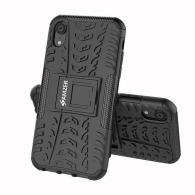 AMZER Shockproof Warrior Hybrid Case for iPhone Xr - Black/Black - amzer