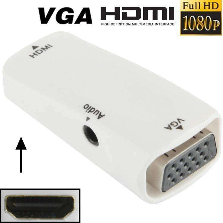AMZER Full HD HDMI Female to VGA & Audio Adapter for HDTV, Projector - White