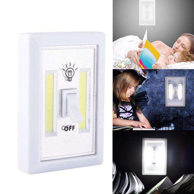 AMZER® Mini White Light COB LED Wall Switch Night Light Lamp - White