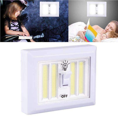 AMZER Mini White Light COB LED Wall Light Switch Night Light Lamp - White - amzer