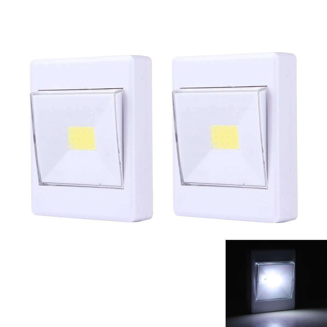 AMZER® 2 PCS Mini White Light COB LED Wall Light Switch Night Light Lamp Closet Light - amzer