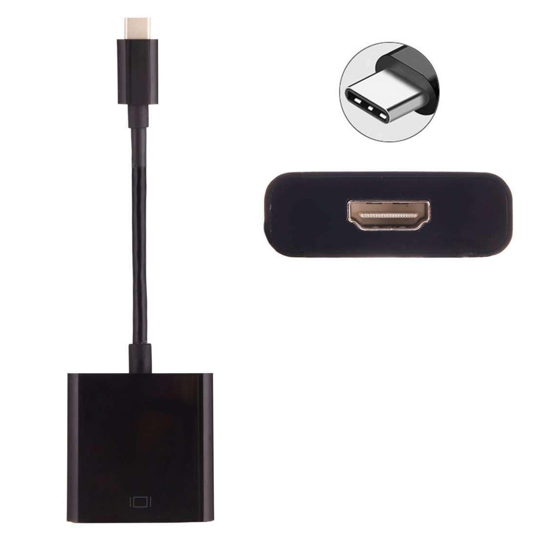 AMZER® 10cm USB Type-C 3.1 Male to HDMI female Adapter Cable - Black - amzer