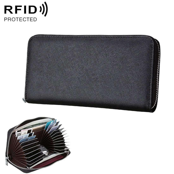 Anti-Magnetic RFID Genuine Leather Passport, Card Holder, Car Keys Package - Black