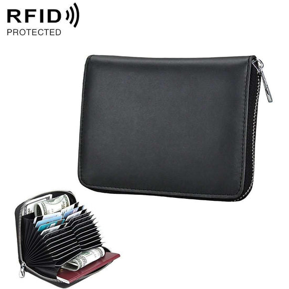 Anti-Magnetic RFID Multi-functional Genuine Leather Card Package - Black