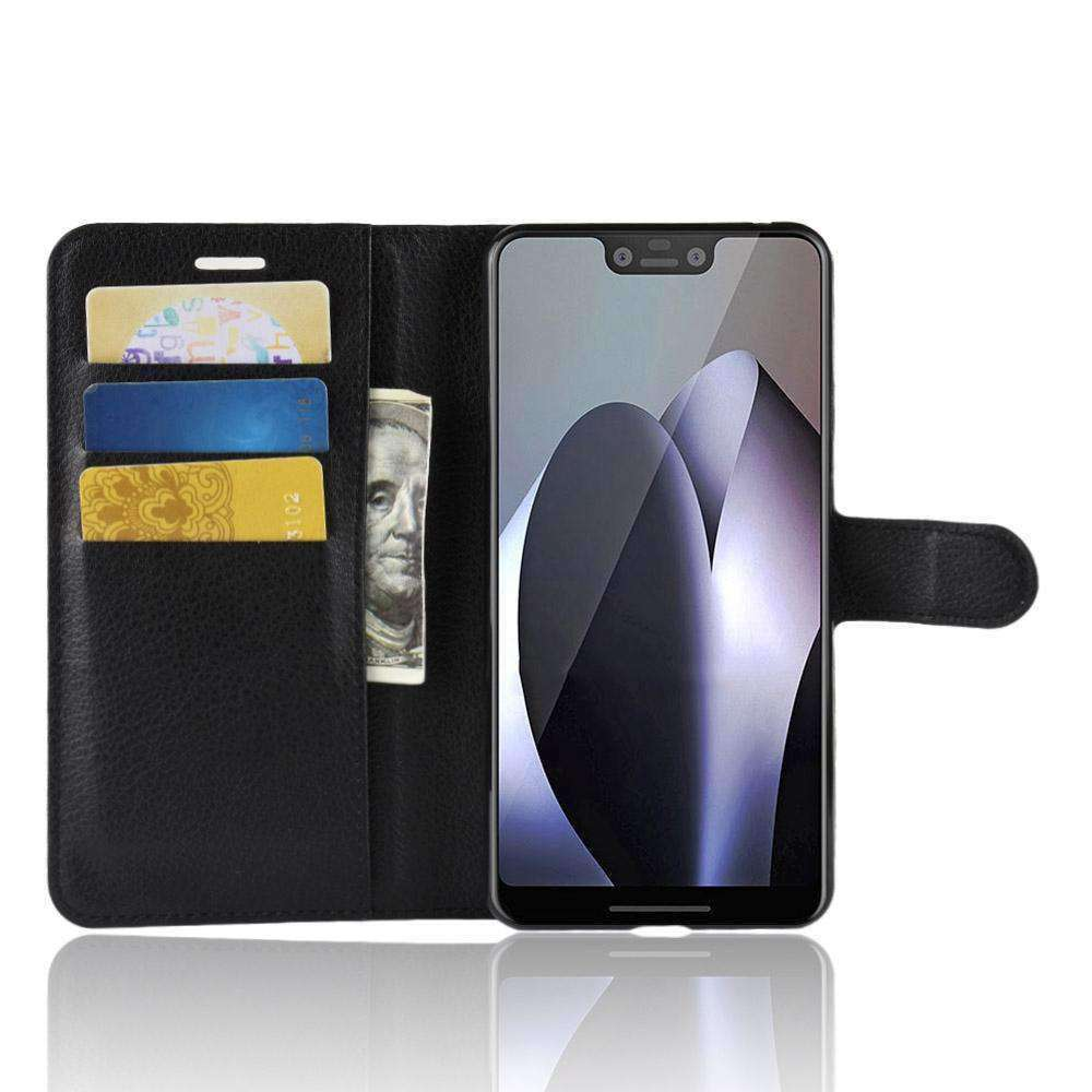 AMZER Flip Leather Case With Wallet & Card Holder for Google Pixel 3 XL - Black