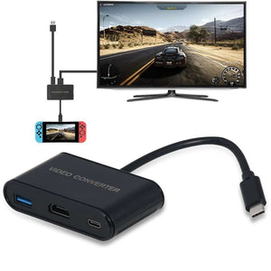 AMZER® USB Type-C to HDMI Adapter Video Converter for Nintendo Switch - Black - amzer