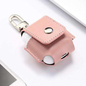 AMZER Leather Protective Case Anti-lost Storage Bag with Stainless Steel Hook For Apple AirPods