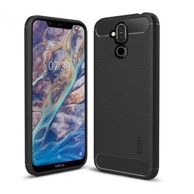 Rugged Shockproof TPU Case With Carbon Fiber Design for Nokia 7.1 Plus - Black - amzer
