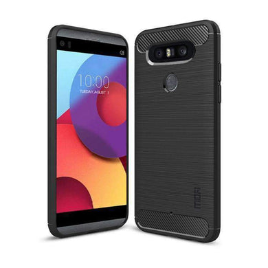 Rugged Armor Flexible & Durable Shock Absorption Case with Carbon Fiber Design for LG Q8 - Black - amzer