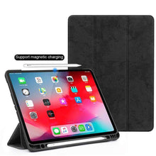 Load image into Gallery viewer, AMZER Suede Leather Folio Cover Wake/Sleep Function For iPad Pro 12.9 inch 2018 - Black - amzer