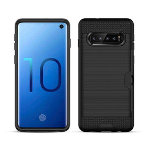 AMZER Brushed Texture Hybrid Case With Card Slot for Samsung Galaxy S10 Plus - Black