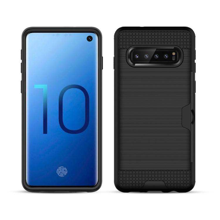 AMZER Brushed Texture Hybrid Case With Card Slot for Samsung Galaxy S10+ - fommystore