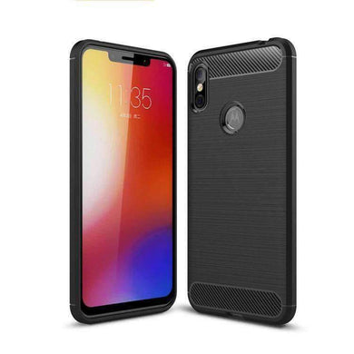 AMZER Rugged Armor Carbon Fiber Design ShockProof TPU for Motorola Moto One Power - fommystore