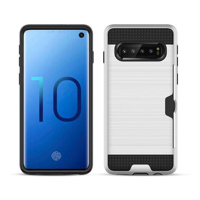 AMZER Brushed Texture Hybrid Case With Card Slot for Samsung Galaxy S10 Plus
