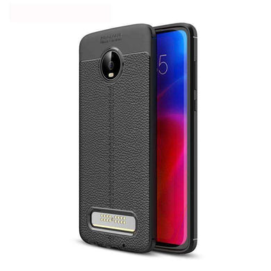 AMZER Premium Leather Texture Design Slim TPU Case for Motorola Moto Z4 Play - Black - fommystore