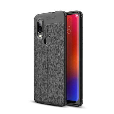 AMZER Premium Leather Texture Design Slim TPU Case for Motorola P40 - Black - fommystore