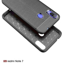 Load image into Gallery viewer, AMZER Premium Leather Texture Design Slim TPU Case for Xiaomi Redmi Note 7 - Black - fommystore