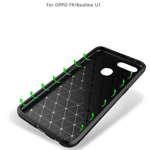 AMZER Hybrid Carbon Fiber Texture TPU Case for Oppo Realme U1 / Oppo F9 - Black - fommystore