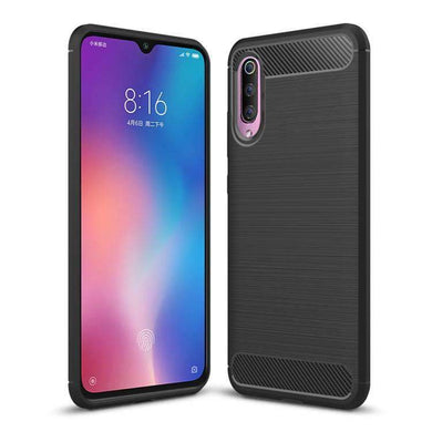 AMZER Premium Leather Texture Design Slim TPU Case for Xiaomi Mi 9 SE - Black - fommystore