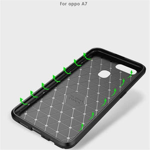 AMZER Hybrid Carbon Fiber Texture TPU Case for Oppo A7 - Black - fommystore