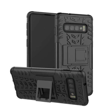 AMZER Hybrid Warrior Case for Samsung Galaxy S10 - Black/ Black - fommystore