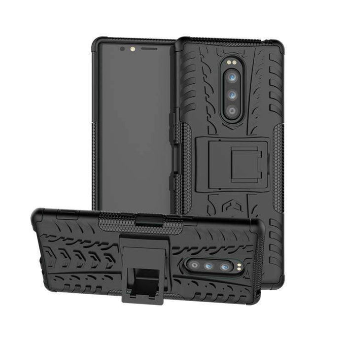 AMZER Hybrid Warrior Case for Sony Xperia 1 / Sony Xperia XZ4 - Black/ Black - fommystore