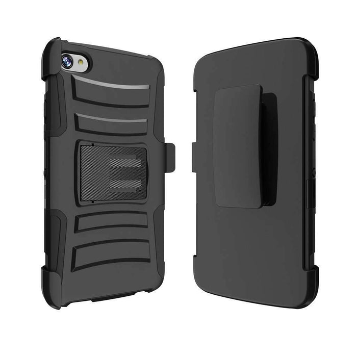 AMZER Rugged Hybrid Armor Case With Holster for Alcatel Idol 5 - Black/Black - fommystore
