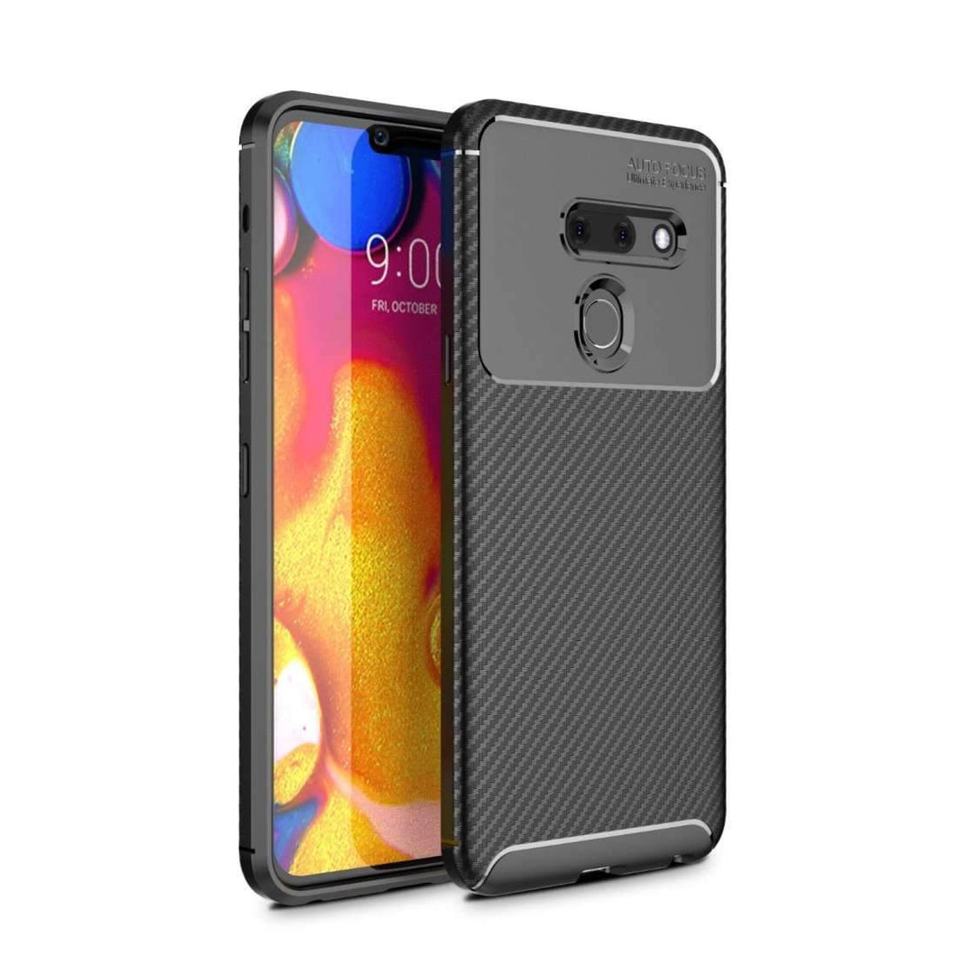 AMZER Hybrid Carbon Fiber Texture TPU Case for LG G8 ThinQ - Black - fommystore