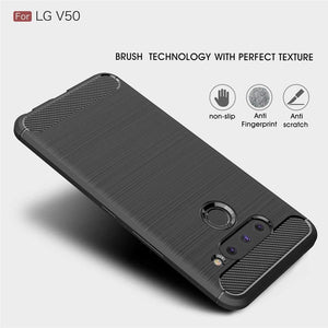 AMZER Rugged Armor Carbon Fiber Design ShockProof TPU for LG V50 ThinQ 5G - Black - fommystore