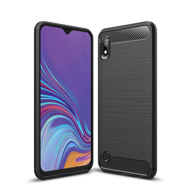 AMZER Rugged Armor Carbon Fiber Design ShockProof TPU for Samsung Galaxy A10 - Black - fommystore