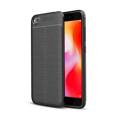AMZER Premium Leather Texture Design Slim TPU Case for Xiaomi Redmi Go - Black - fommystore