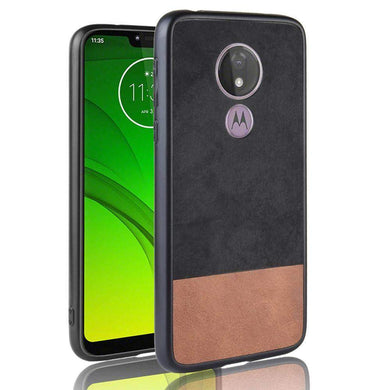 AMZER Shockproof Denim PC + TPU Case for Motorola Moto G7 Play (EU Version) - Black - fommystore