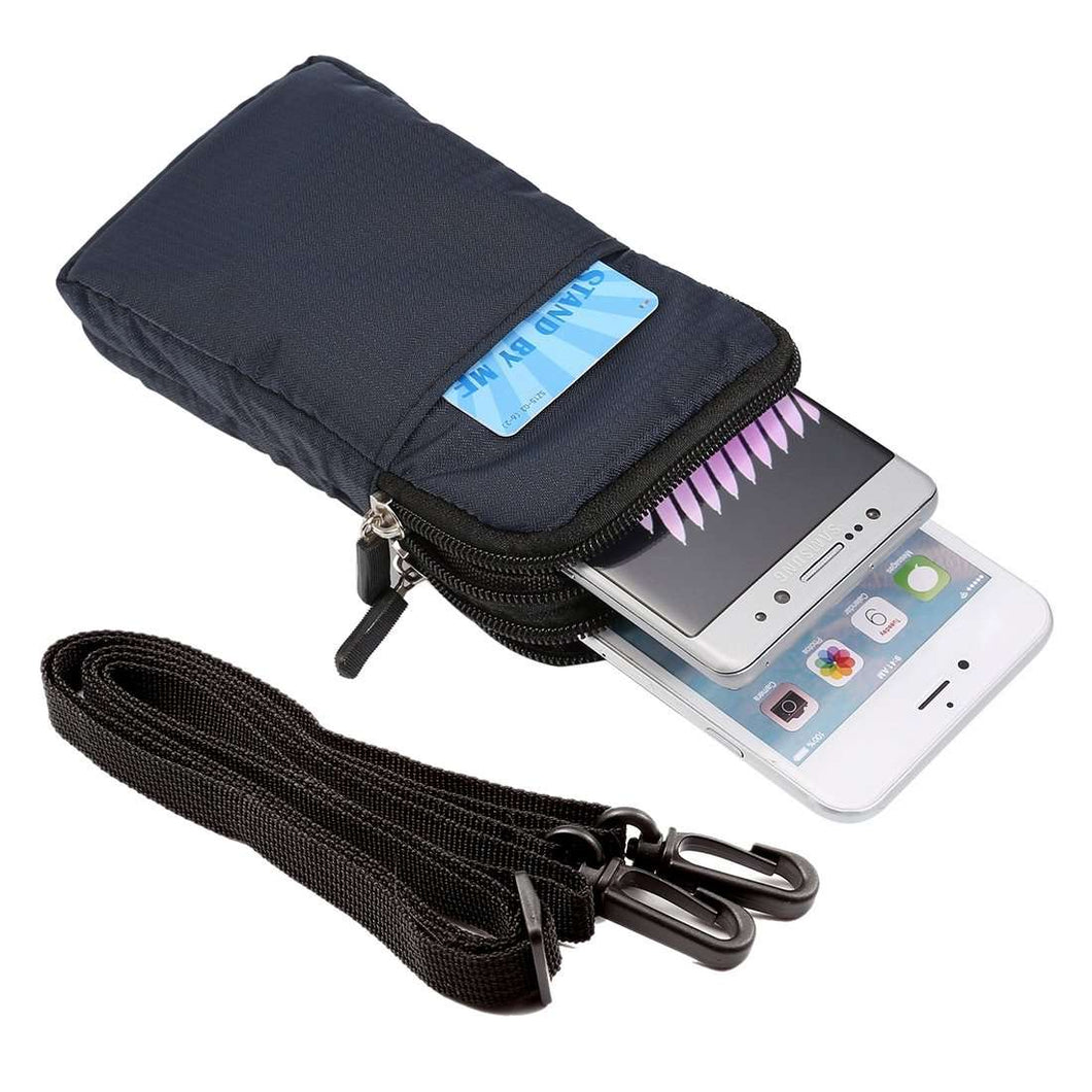 Universal Multi-function Double Layer Zipper Sports Waist /Shoulder Bag - Dark Blue - fommystore