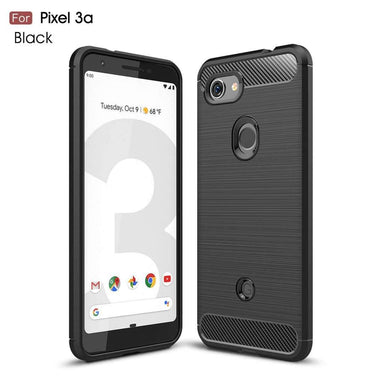 AMZER Rugged Armor Carbon Fiber Design ShockProof TPU for Google Pixel 3a - Black - fommystore