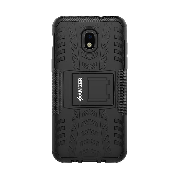 AMZER Hybrid Warrior Kickstand Case for Samsung Galaxy J3 2018 - Black/Black