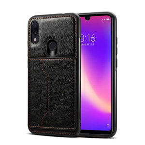 Leather Texture Protective TPU Case With Holder & Card Slots for Samsung Galaxy A30 - Black - fommystore