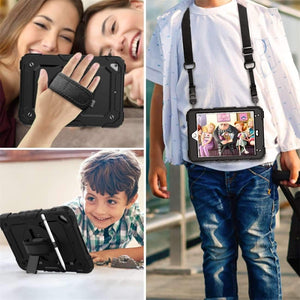 AMZER TUFFEN Case with Hand Strap, Neck Lanyard And Apple Pencil Slot for Apple iPad Mini 2019 / Apple mini 4 - Black - fommystore