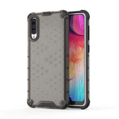 AMZER Honeycomb SlimGrip Hybrid Bumper Case for Samsung Galaxy A50/ A50s - Black