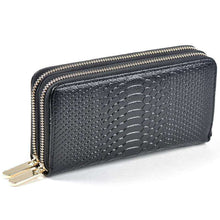 Load image into Gallery viewer, AMZER Genuine Leather Woman Dual Zipper Coin/ Card Holder Purse/ Wallet with Wristlet Strap