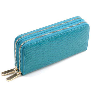 AMZER Genuine Leather Woman Dual Zipper Coin/ Card Holder Purse/ Wallet with Wristlet Strap