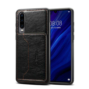 Leather Texture Protective TPU Case With Holder & Card Slots for Samsung Galaxy A70 - Black - fommystore