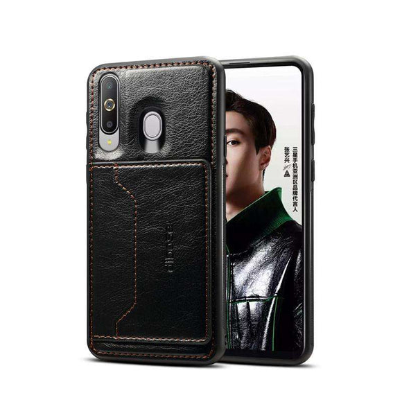 Leather Texture Protective TPU Case With Holder & Card Slots for Samsung Galaxy A60 - Black - fommystore