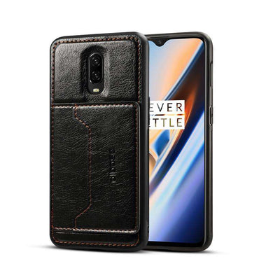Leather Texture Protective TPU Case With Holder & Card Slots for OnePlus 7 - Black - fommystore