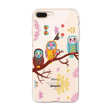 AMZER Soft Gel Clear TPU Case for Apple iPhone 7 Plus - Owls On Branch