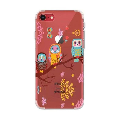 AMZER Soft Gel Clear TPU Case for Apple iPhone 7, iPhone 9, iPhone SE 2020 - Owls On Branch