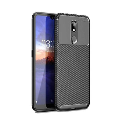 AMZER Rugged Armor Carbon Fiber Design ShockProof TPU for Nokia 3.2 - Black